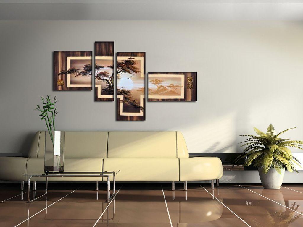 Картины в интерьере гостиной четырехмодульные