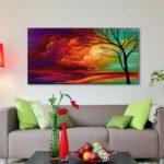 Картины в интерьере гостиной горизонтальная форма