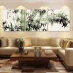 Картины в интерьере гостиной горизонтальный триптих в японском стиле