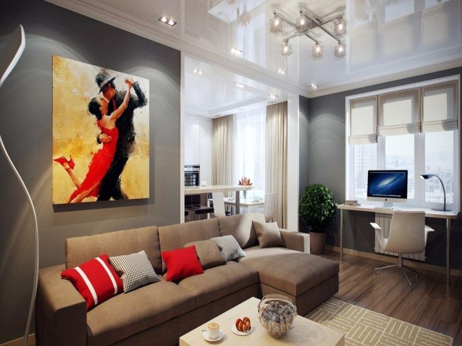 Картины в интерьере гостиной как украшение