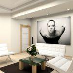 Картины в интерьере гостиной постер в минималистском стиле