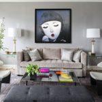 Картины в интерьере гостиной стиль хай-тек