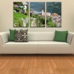 Картины в интерьере гостиной триптих с горным пейзажем