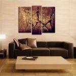 Картины в интерьере гостиной вертикальный модульный триптих