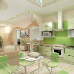 элитный дизайн кухни в зеленых тонах