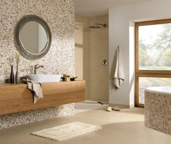 Светалая бежевая ванная комната