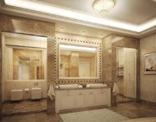 Классическая ванная комната в бежевом цвете