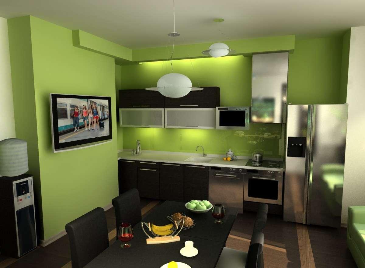 кухня зеленая с черным