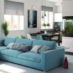 кухня гостиная 18 м2 стильный голубой диван