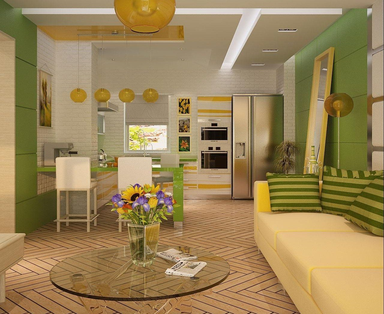 зонирование кухни гостиной
