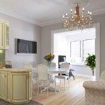кухня гостиная 18 м2 классический стиль