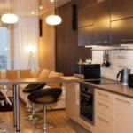 кухня гостиная 18 м2 с угловым диваном