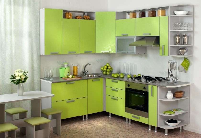 кухня лаймового цвета