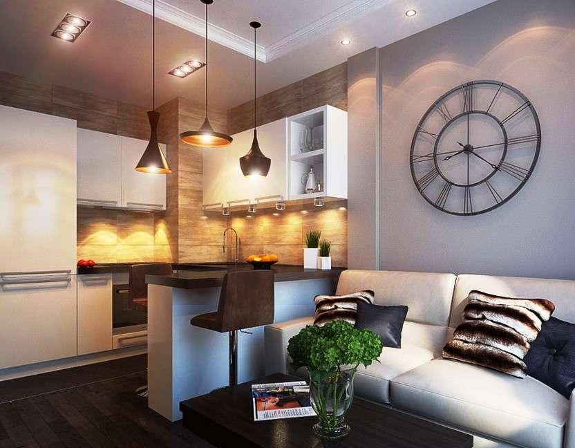 маленькая кухня гостиная фото