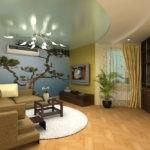 Оформление гостиной комнаты с фотообоями
