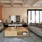 Оформление гостиной комнаты серо-бежевый колорит