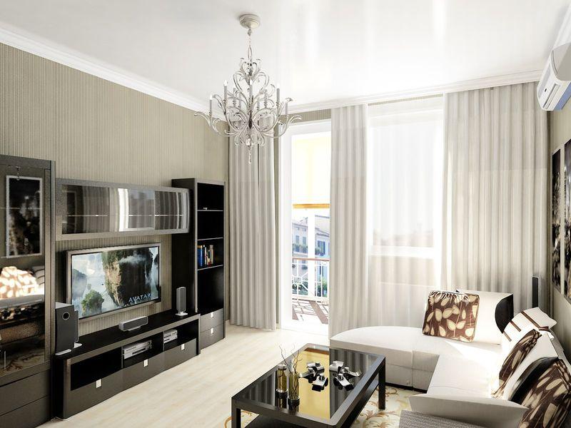 Оформление гостиной комнаты в городской квартире