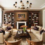 Оформление гостиной с деревянной мебелью в темно-коричневых тонах