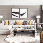 Оформление гостиной с модульной картиной на стене