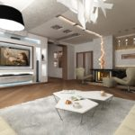 Оформление гостиной с неоновым освещением и стеновыми нишами для мебели и телевизора