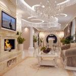 Оформление гостиной в стиле барокко с камином