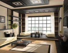 Оформление окна гостиной комнаты