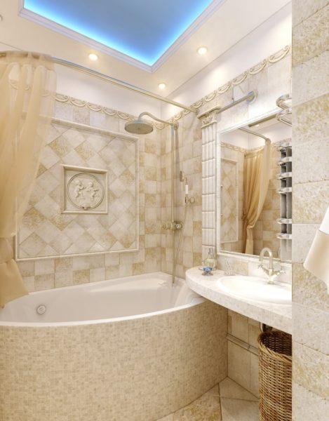 Подсветка потолка для бежевой ванной комнаты