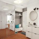 Оформление прихожей белого цвета в стиле хайтек с узкой мебелью