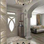Оформление прихожей в стиле модерн с орнаментом на полу