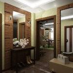 Оформление прихожей зеркалами и штукатуркой оливкового цвета