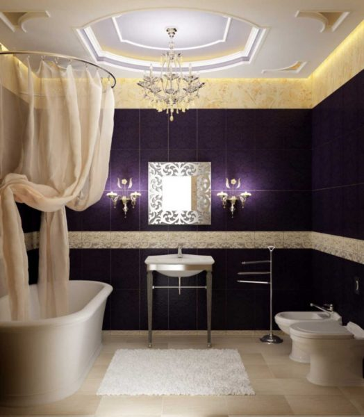 Бежевый и синий цвет для декора ванной