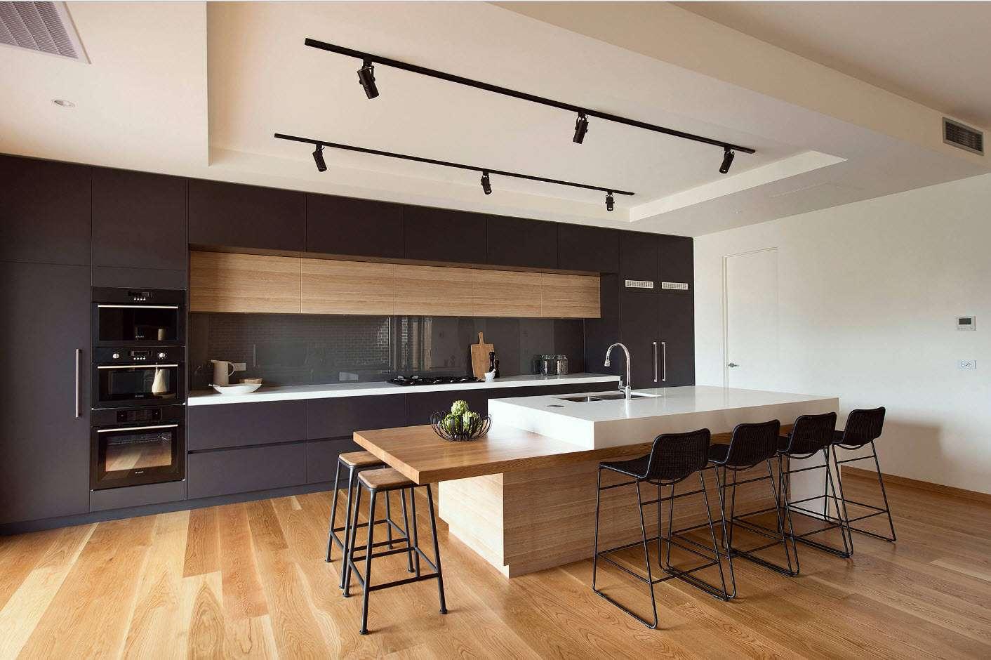 современная кухня со встроенной техникой