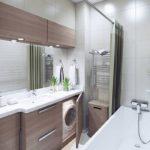 Современный дизайн узкой ванной комнаты в стиле хай-тек