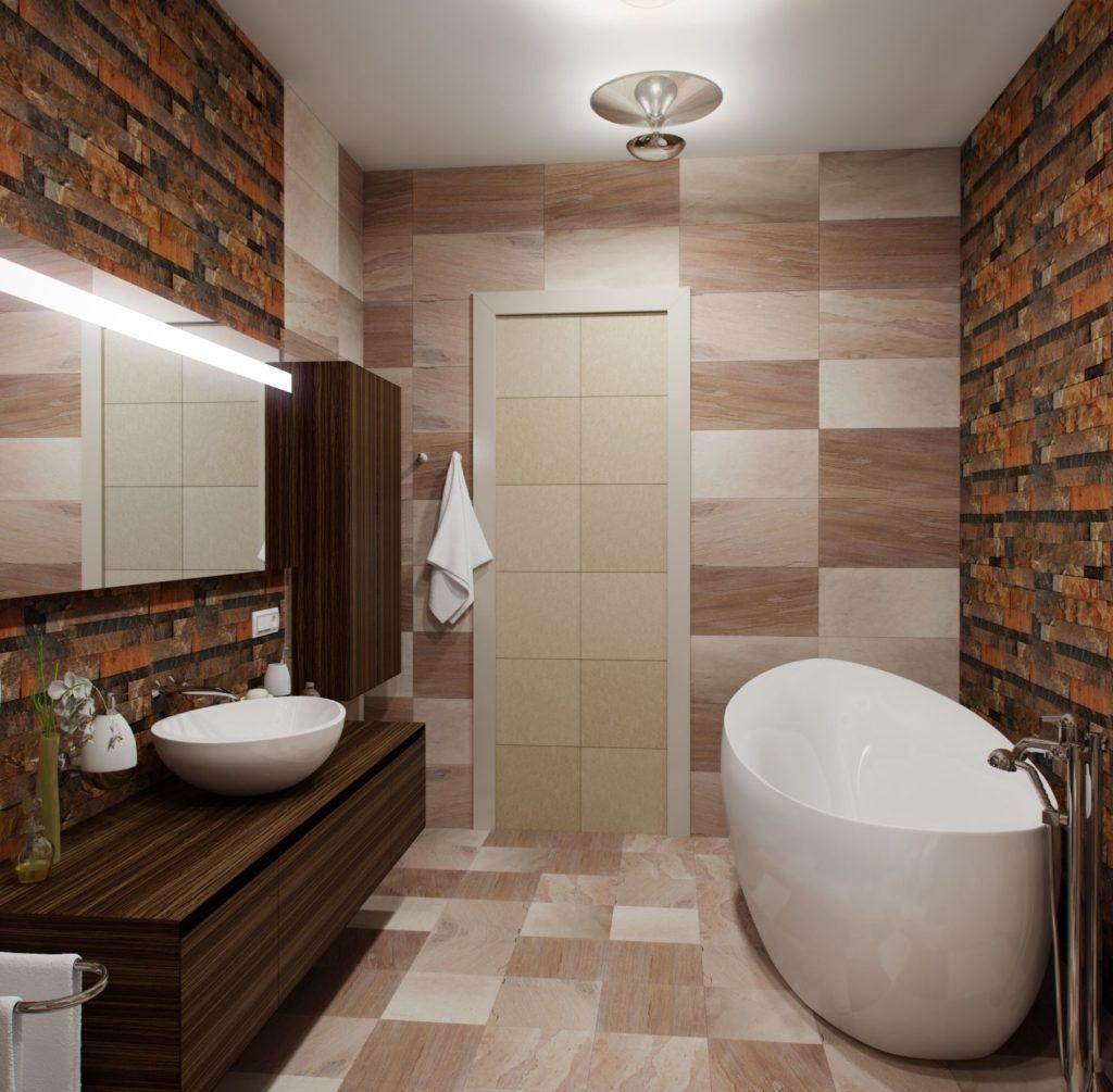 Современный дизайн ванной кафель на полу