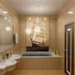 Современный дизайн ванной комнаты бежевая плитка с фотопечатью