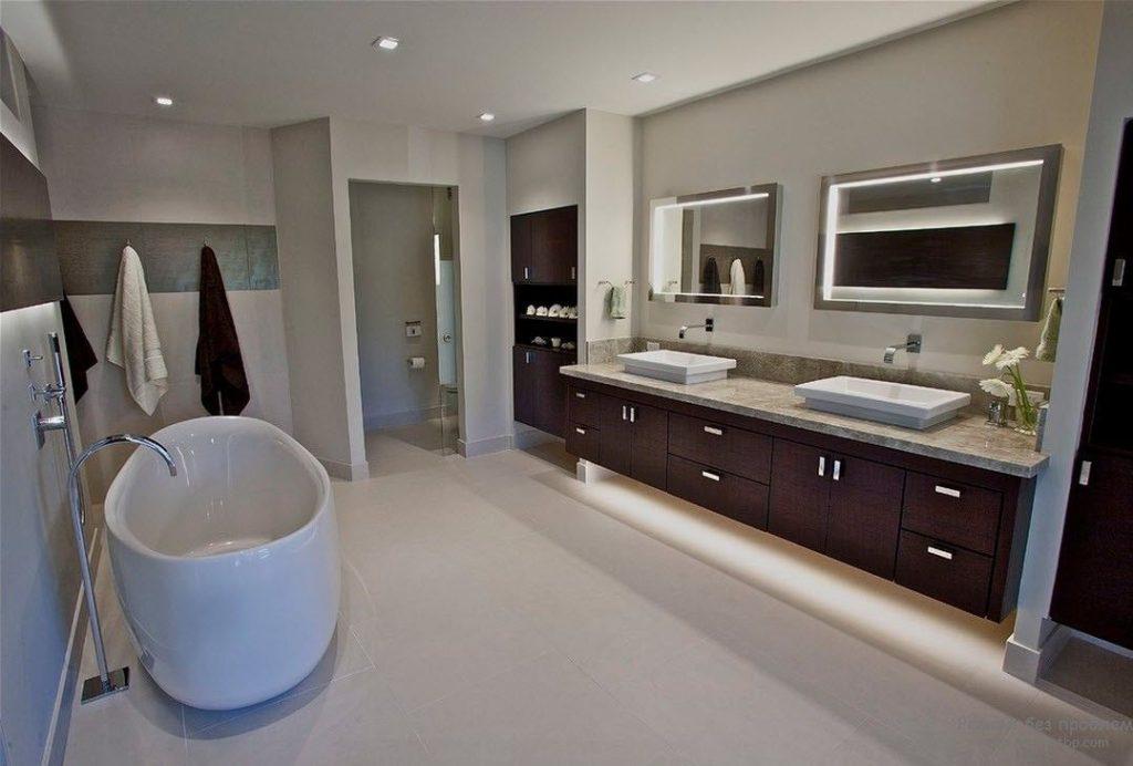 современный дизайн ванной комнаты легкая мебель