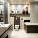 Современный дизайн ванной комнаты с использованием стеновых ниш