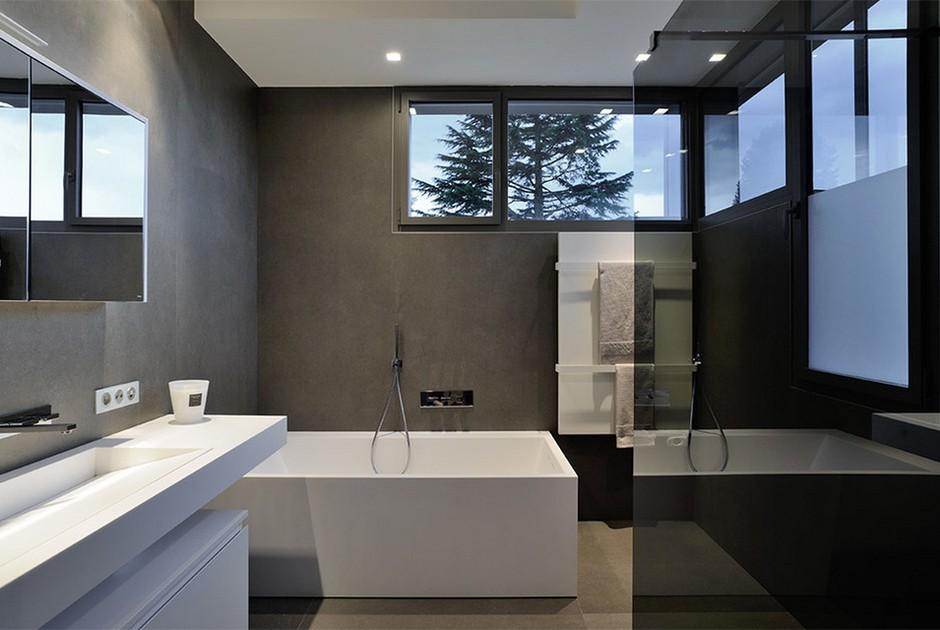 современный дизайн ванной комнаты в стиле хай-тек