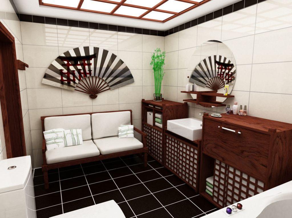 современный дизайн ванной комнаты в японском стиле