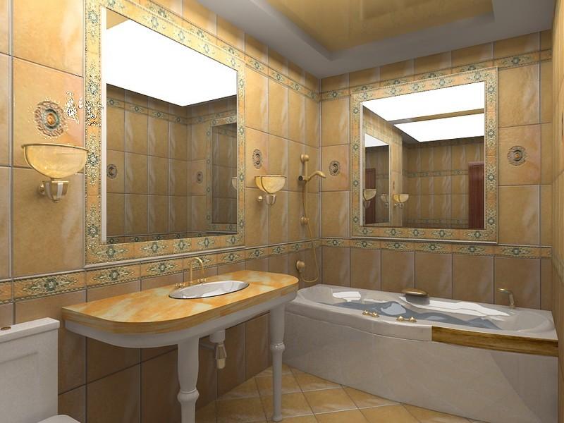 современный дизайн ванной комнаты зеркала в стенах