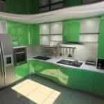 зеленая кухня фото интерьера