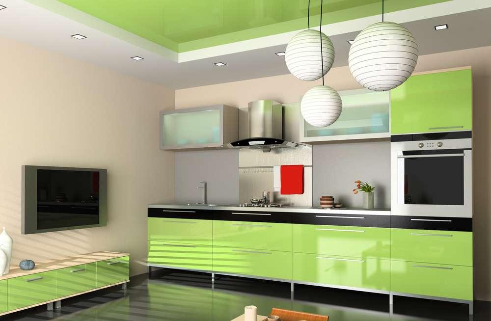 зеленая кухня гарнитур