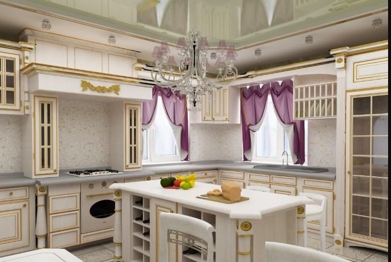 декор окна на кухне барокко