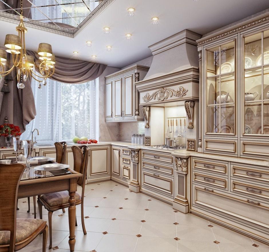 декор окна на кухне классика