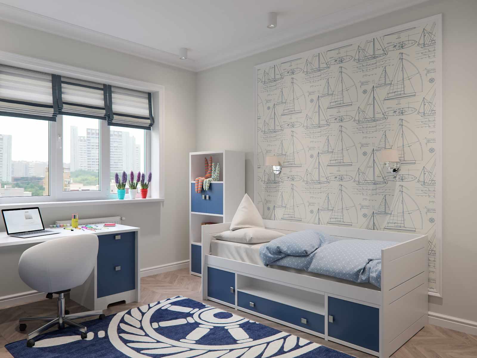 пример яркого интерьера детской комнаты
