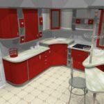 вариант яркого дизайна красной кухни картинка