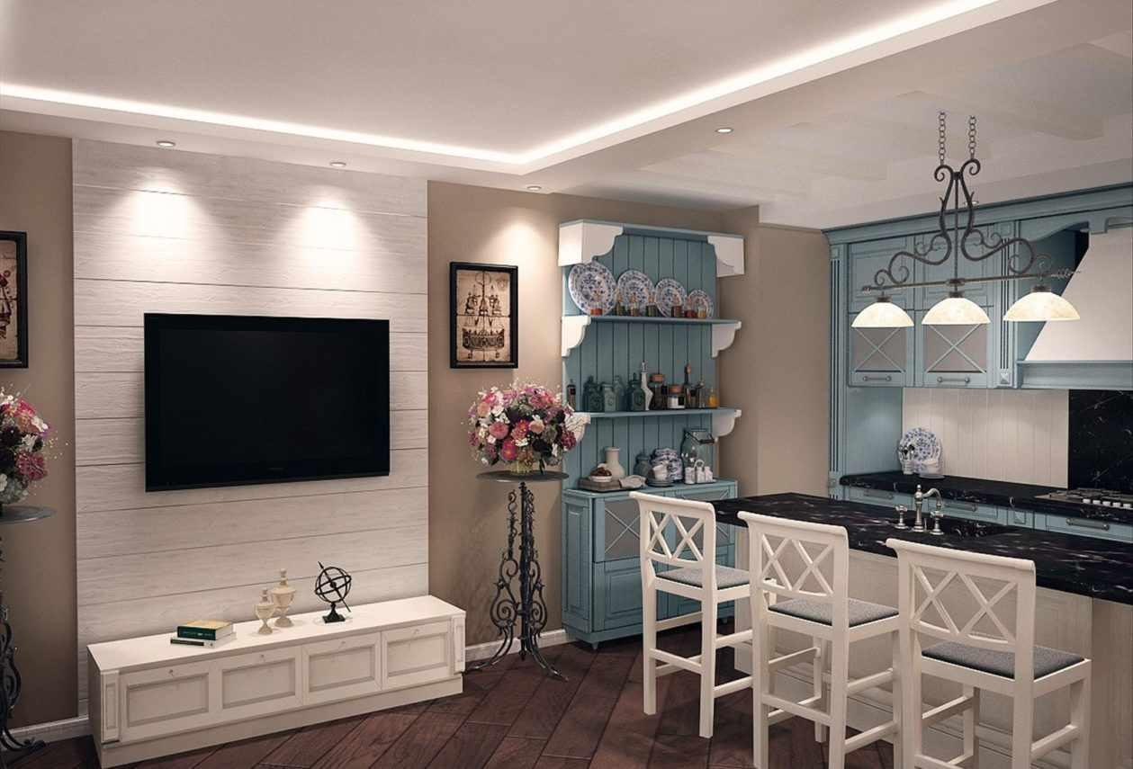 пример яркого декора кухни гостиной 16 кв.м