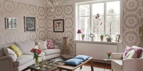 идея красивого дизайна обоев для гостиной картинка