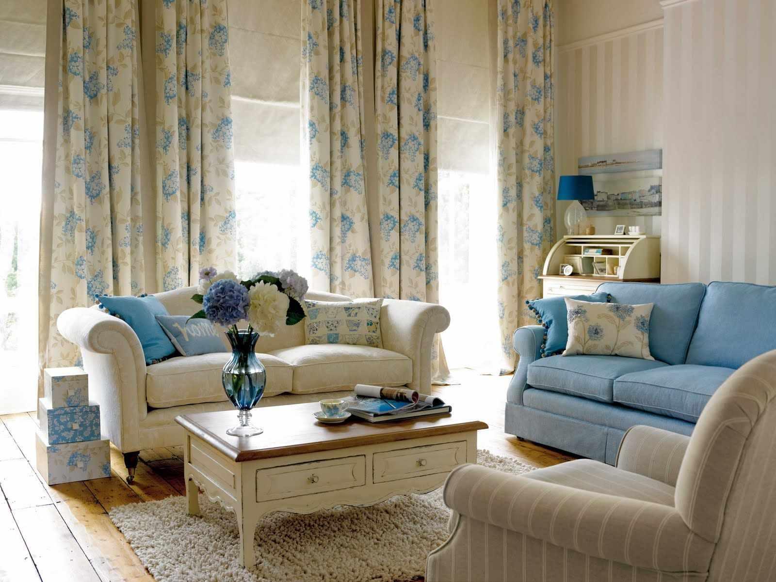 идея красивого стиля прованс в гостиной комнате