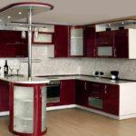 вариант яркого дизайна угловой кухни картинка
